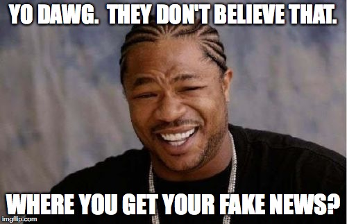 Yo Dawg Heard You Meme | YO DAWG.  THEY DON'T BELIEVE THAT. WHERE YOU GET YOUR FAKE NEWS? | image tagged in memes,yo dawg heard you | made w/ Imgflip meme maker