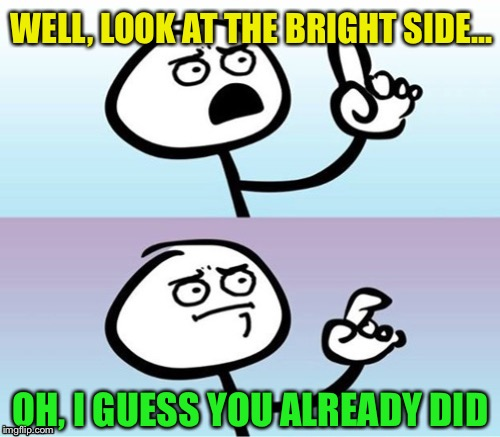 WELL, LOOK AT THE BRIGHT SIDE... OH, I GUESS YOU ALREADY DID | made w/ Imgflip meme maker