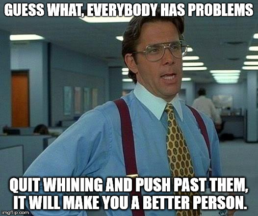 That Would Be Great | GUESS WHAT, EVERYBODY HAS PROBLEMS QUIT WHINING AND PUSH PAST THEM, IT WILL MAKE YOU A BETTER PERSON. | image tagged in protest,problem,whining,crybaby | made w/ Imgflip meme maker