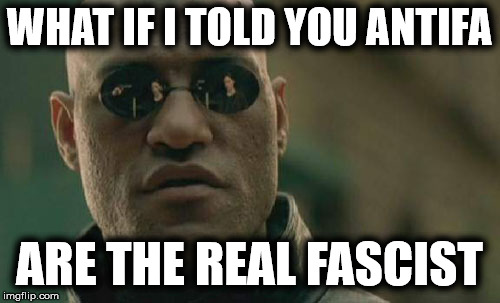 Matrix Morpheus Meme | WHAT IF I TOLD YOU ANTIFA ARE THE REAL FASCIST | image tagged in memes,matrix morpheus | made w/ Imgflip meme maker