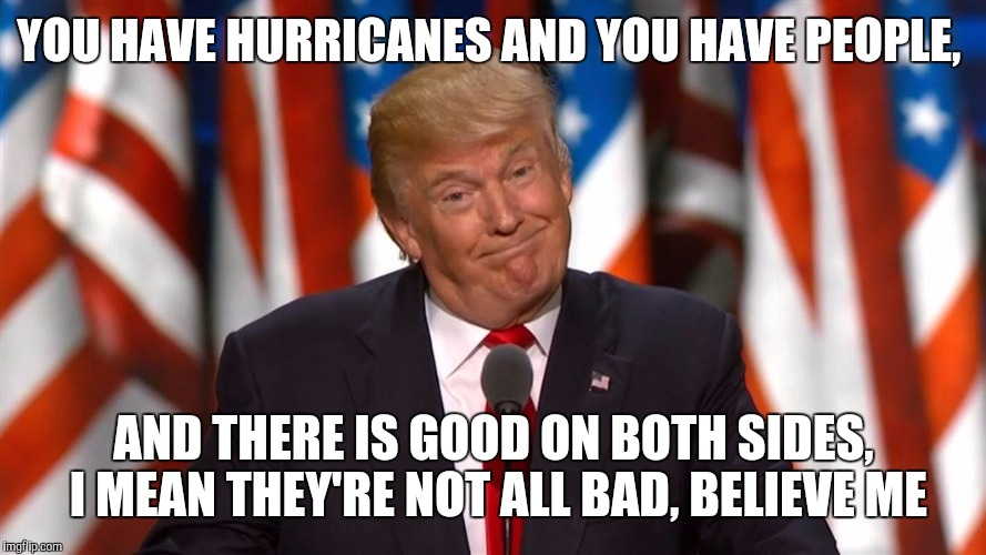 YOU HAVE HURRICANES AND YOU HAVE PEOPLE, AND THERE IS GOOD ON BOTH SIDES, I MEAN THEY'RE NOT ALL BAD, BELIEVE ME | made w/ Imgflip meme maker