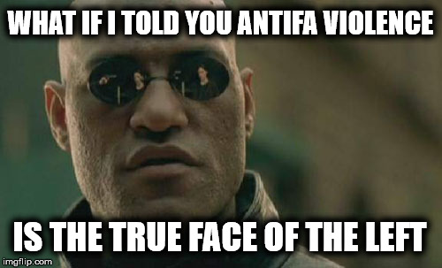 Matrix Morpheus Meme | WHAT IF I TOLD YOU ANTIFA VIOLENCE IS THE TRUE FACE OF THE LEFT | image tagged in memes,matrix morpheus | made w/ Imgflip meme maker