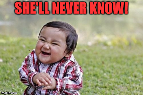 Evil Toddler Meme | SHE'LL NEVER KNOW! | image tagged in memes,evil toddler | made w/ Imgflip meme maker