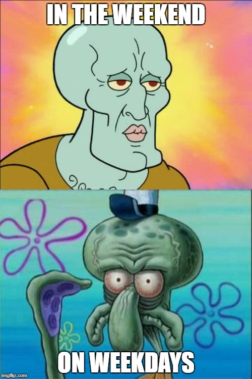 Squidward Meme | IN THE WEEKEND ON WEEKDAYS | image tagged in memes,squidward | made w/ Imgflip meme maker
