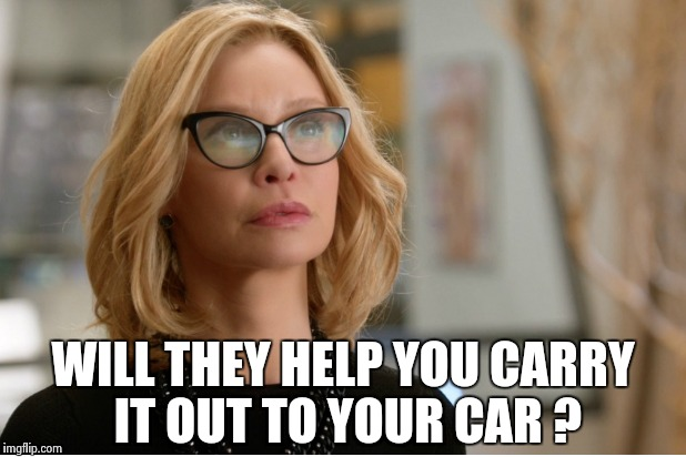 Callista Flockhart | WILL THEY HELP YOU CARRY IT OUT TO YOUR CAR ? | image tagged in callista flockhart | made w/ Imgflip meme maker