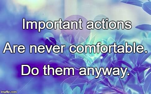 Important actions Do them anyway. Are never comfortable. | image tagged in nature | made w/ Imgflip meme maker
