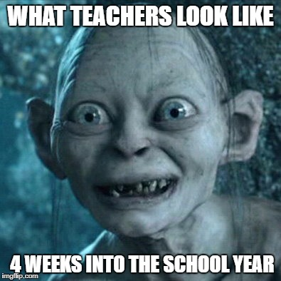 Gollum Meme | WHAT TEACHERS LOOK LIKE 4 WEEKS INTO THE SCHOOL YEAR | image tagged in memes,gollum | made w/ Imgflip meme maker
