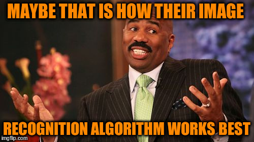 Steve Harvey Meme | MAYBE THAT IS HOW THEIR IMAGE RECOGNITION ALGORITHM WORKS BEST | image tagged in memes,steve harvey | made w/ Imgflip meme maker