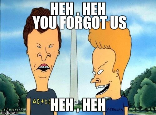 Beavis and Butthead | YOU FORGOT US | image tagged in beavis and butthead | made w/ Imgflip meme maker