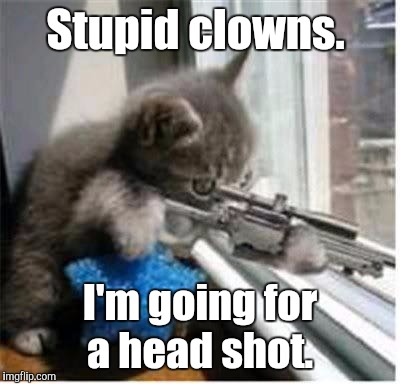 Stupid clowns. I'm going for a head shot. | made w/ Imgflip meme maker