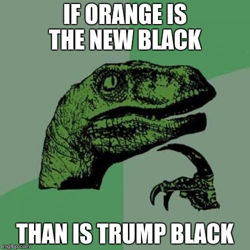 Philosoraptor Meme | IF ORANGE IS THE NEW BLACK THAN IS TRUMP BLACK | image tagged in memes,philosoraptor | made w/ Imgflip meme maker