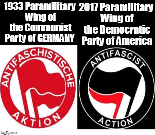 If leftist ideologues won't denounce ANTIFA it is because they are using them against ideological opponents.  | 1933 Paramilitary Wing of the Communist Party of GERMANY 2017 Paramilitary Wing of the Democratic Party of America | image tagged in german communists,do not equal,american troops in wwii,antifa,just stop | made w/ Imgflip meme maker