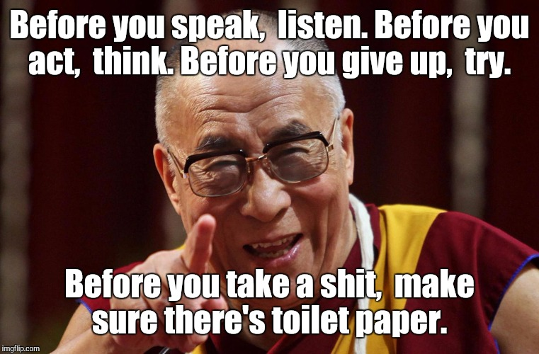 Some life lessons.  | Before you speak,  listen. Before you act,  think. Before you give up,  try. Before you take a shit,  make sure there's toilet paper. | image tagged in dali lama,funny meme,life lessons,bathroom humor | made w/ Imgflip meme maker