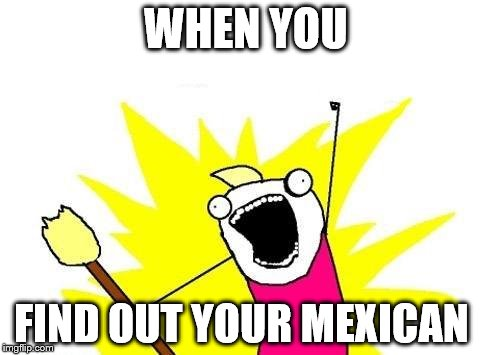 X All The Y Meme | WHEN YOU FIND OUT YOUR MEXICAN | image tagged in memes,x all the y | made w/ Imgflip meme maker