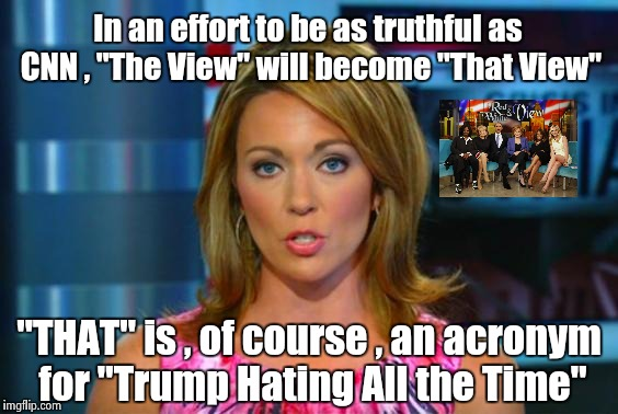 "Still telling it like they want it be ! | In an effort to be as truthful as CNN , ""The View"" will become ""That View"" ""THAT"" is , of course , an acronym for ""Trump Hating All the Time 