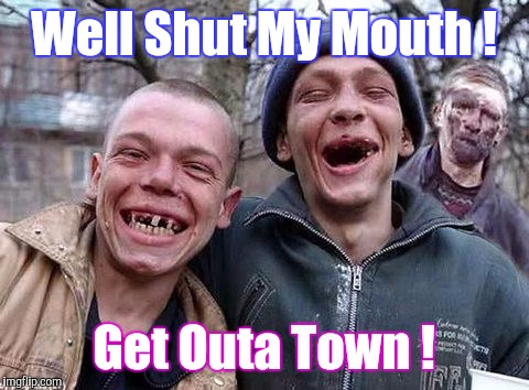 Memes, hillbilly philosophy | Well Shut My Mouth ! Get Outa Town ! | image tagged in memes,hillbilly philosophy | made w/ Imgflip meme maker