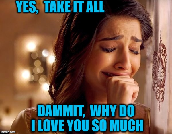 YES,  TAKE IT ALL DAMMIT,  WHY DO I LOVE YOU SO MUCH | made w/ Imgflip meme maker