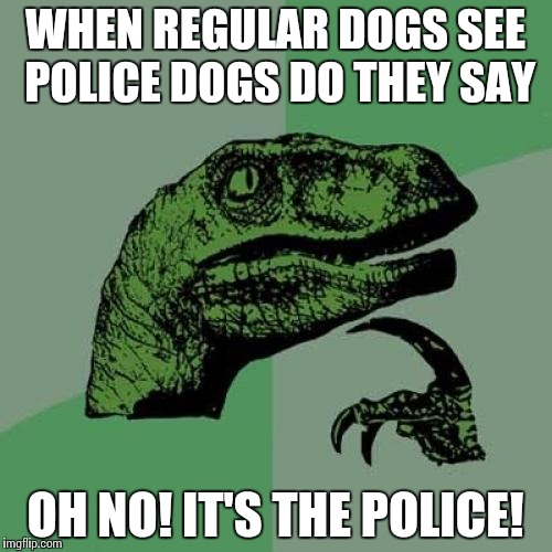 Philosoraptor | WHEN REGULAR DOGS SEE POLICE DOGS DO THEY SAY OH NO! IT'S THE POLICE! | image tagged in memes,philosoraptor | made w/ Imgflip meme maker
