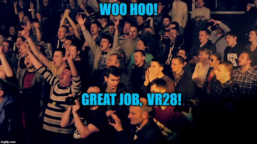 Clapping audience | WOO HOO! GREAT JOB,  VR28! | image tagged in clapping audience | made w/ Imgflip meme maker