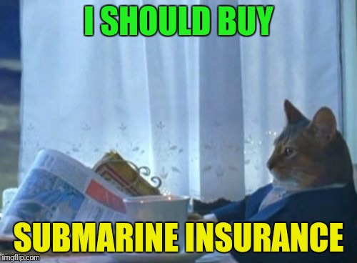 I Should Buy A Boat Cat |  I SHOULD BUY; SUBMARINE INSURANCE | image tagged in memes,i should buy a boat cat | made w/ Imgflip meme maker