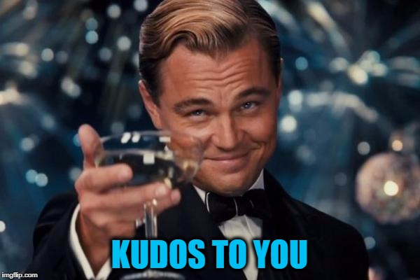 Leonardo Dicaprio Cheers Meme | KUDOS TO YOU | image tagged in memes,leonardo dicaprio cheers | made w/ Imgflip meme maker