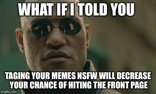 Anyone ever done that ? | WHAT IF I TOLD YOU TAGING YOUR MEMES NSFW WILL DECREASE YOUR CHANCE OF HITING THE FRONT PAGE | image tagged in memes,matrix morpheus | made w/ Imgflip meme maker