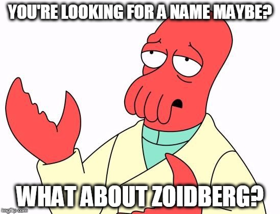 Zoid | YOU'RE LOOKING FOR A NAME MAYBE? WHAT ABOUT ZOIDBERG? | image tagged in zoid | made w/ Imgflip meme maker