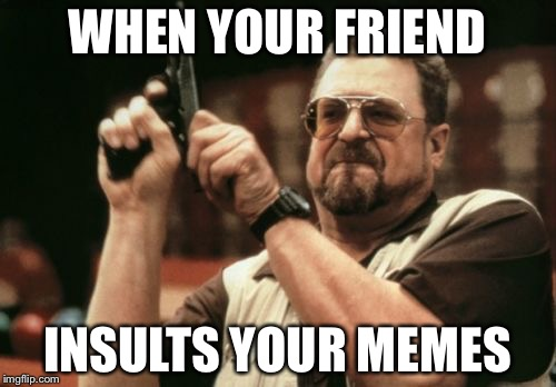 Meme 2  | WHEN YOUR FRIEND INSULTS YOUR MEMES | image tagged in memes,am i the only one around here | made w/ Imgflip meme maker