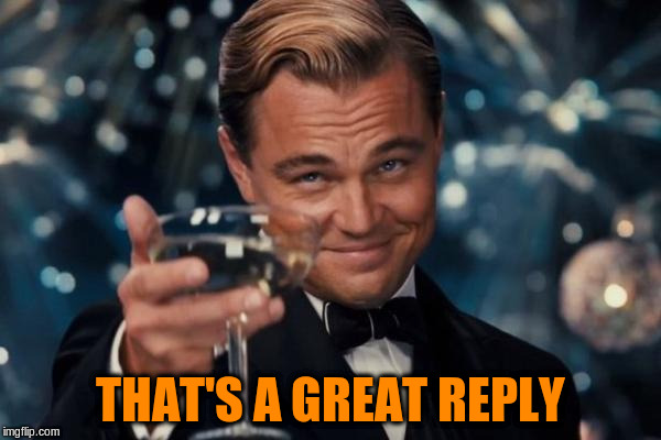 Leonardo Dicaprio Cheers Meme | THAT'S A GREAT REPLY | image tagged in memes,leonardo dicaprio cheers | made w/ Imgflip meme maker