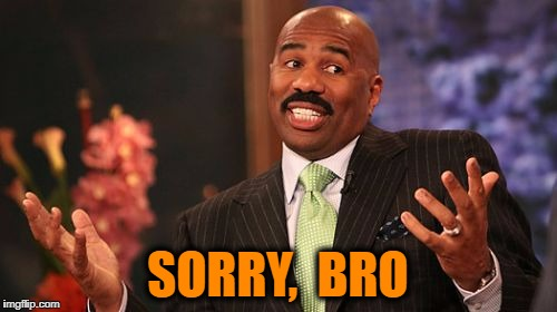 Steve Harvey Meme | SORRY,  BRO | image tagged in memes,steve harvey | made w/ Imgflip meme maker