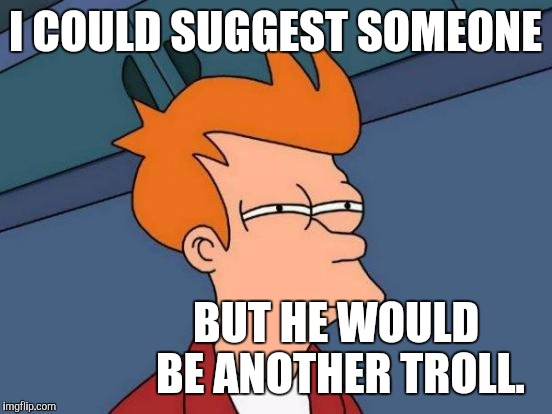 Futurama Fry Meme | I COULD SUGGEST SOMEONE BUT HE WOULD BE ANOTHER TROLL. | image tagged in memes,futurama fry | made w/ Imgflip meme maker