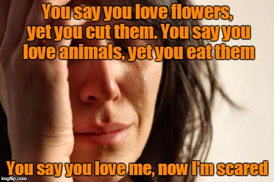 First World Problems Meme | You say you love flowers, yet you cut them. You say you love animals, yet you eat them You say you love me, now I'm scared | image tagged in memes,first world problems,trhtimmy | made w/ Imgflip meme maker