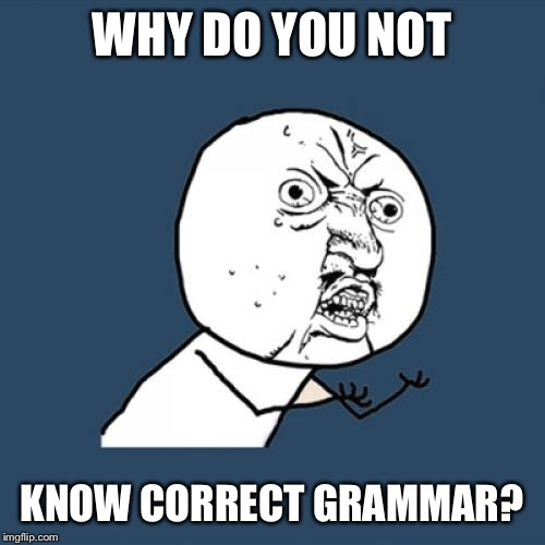 Y U No Meme | WHY DO YOU NOT KNOW CORRECT GRAMMAR? | image tagged in memes,y u no | made w/ Imgflip meme maker