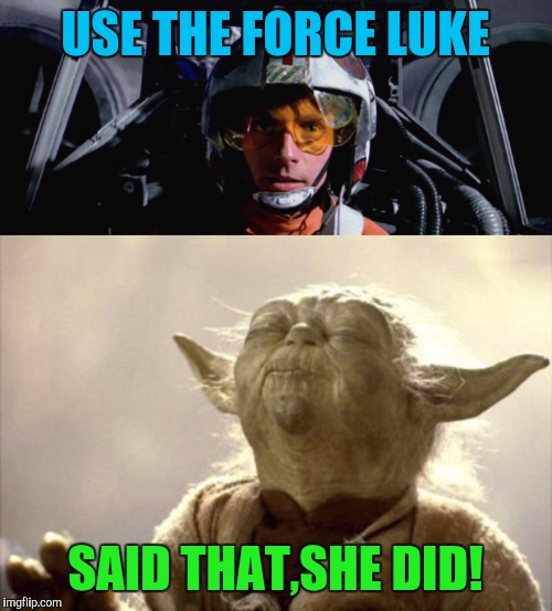 Said that, she did | USE THE FORCE LUKE SAID THAT,SHE DID! | image tagged in memes,yoda,luke skywalker,star wars | made w/ Imgflip meme maker