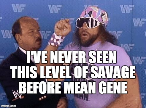 savage level | I'VE NEVER SEEN THIS LEVEL OF SAVAGE BEFORE MEAN GENE | image tagged in savage level | made w/ Imgflip meme maker