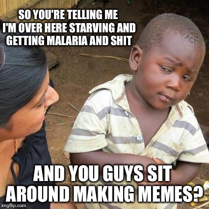 We're all guilty | SO YOU'RE TELLING ME I'M OVER HERE STARVING AND GETTING MALARIA AND SHIT AND YOU GUYS SIT AROUND MAKING MEMES? | image tagged in memes,third world skeptical kid,imgflip,imgflip users,starving | made w/ Imgflip meme maker