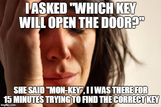 "This made me go Bananas | I ASKED ""WHICH KEY WILL OPEN THE DOOR?"" SHE SAID ""MON-KEY"", I I WAS THERE FOR 15 MINUTES TRYING TO FIND THE CORRECT KEY 