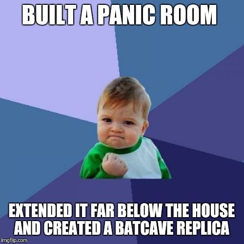 Success Kid Meme | BUILT A PANIC ROOM EXTENDED IT FAR BELOW THE HOUSE AND CREATED A BATCAVE REPLICA | image tagged in memes,success kid | made w/ Imgflip meme maker