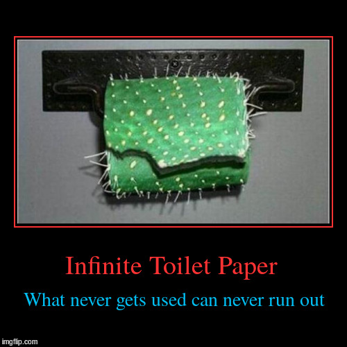 Infinite Toilet Paper | What never gets used can never run out | image tagged in funny,demotivationals,cactus,toilet paper | made w/ Imgflip demotivational maker