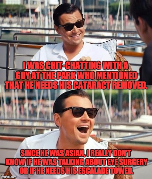Leonardo Dicaprio Wolf Of Wall Street Meme | I WAS CHIT-CHATTING WITH A GUY AT THE PARK WHO MENTIONED THAT HE NEEDS HIS CATARACT REMOVED. SINCE HE WAS ASIAN, I REALLY DON'T KNOW IF HE W | image tagged in memes,leonardo dicaprio wolf of wall street | made w/ Imgflip meme maker