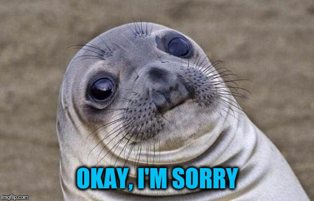 Awkward Moment Sealion Meme | OKAY, I'M SORRY | image tagged in memes,awkward moment sealion | made w/ Imgflip meme maker
