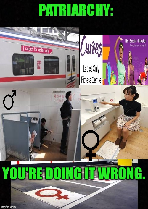 PATRIARCHY: YOU'RE DOING IT WRONG. | image tagged in male privilege | made w/ Imgflip meme maker