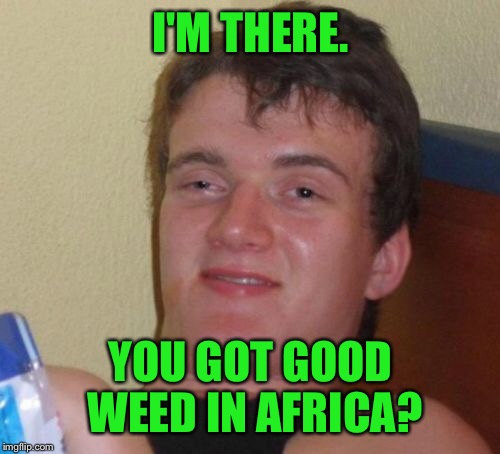 10 Guy Meme | I'M THERE. YOU GOT GOOD WEED IN AFRICA? | image tagged in memes,10 guy | made w/ Imgflip meme maker