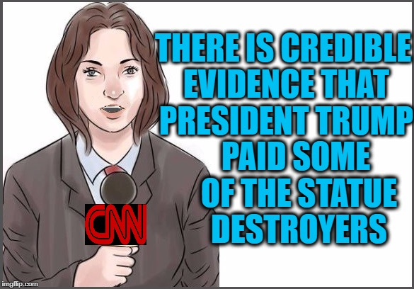 reporter | THERE IS CREDIBLE EVIDENCE THAT PRESIDENT TRUMP PAID SOME OF THE STATUE DESTROYERS | image tagged in reporter | made w/ Imgflip meme maker