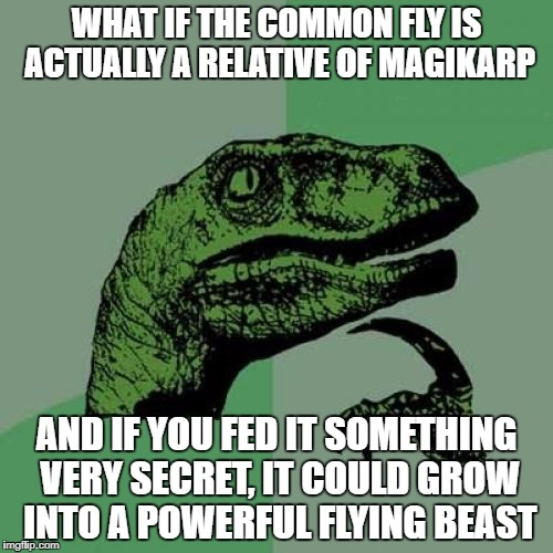 Philosoraptor Meme | WHAT IF THE COMMON FLY IS ACTUALLY A RELATIVE OF MAGIKARP AND IF YOU FED IT SOMETHING VERY SECRET, IT COULD GROW INTO A POWERFUL FLYING BEAS | image tagged in memes,philosoraptor | made w/ Imgflip meme maker