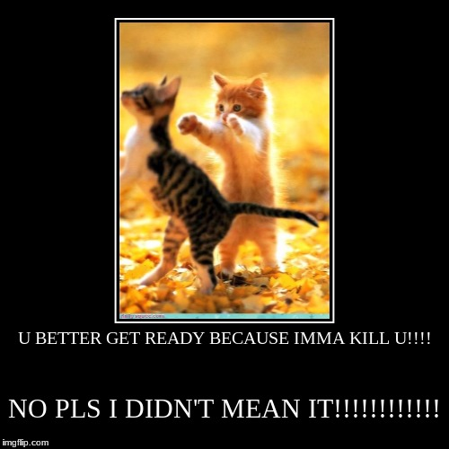 U BETTER GET READY BECAUSE IMMA KILL U!!!! | NO PLS I DIDN'T MEAN IT!!!!!!!!!!!! | image tagged in funny,demotivationals | made w/ Imgflip demotivational maker