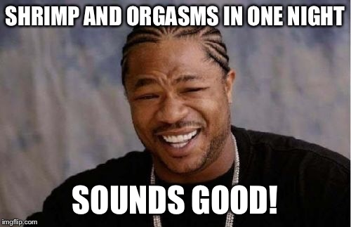 Yo Dawg Heard You Meme | SHRIMP AND ORGASMS IN ONE NIGHT SOUNDS GOOD! | image tagged in memes,yo dawg heard you | made w/ Imgflip meme maker