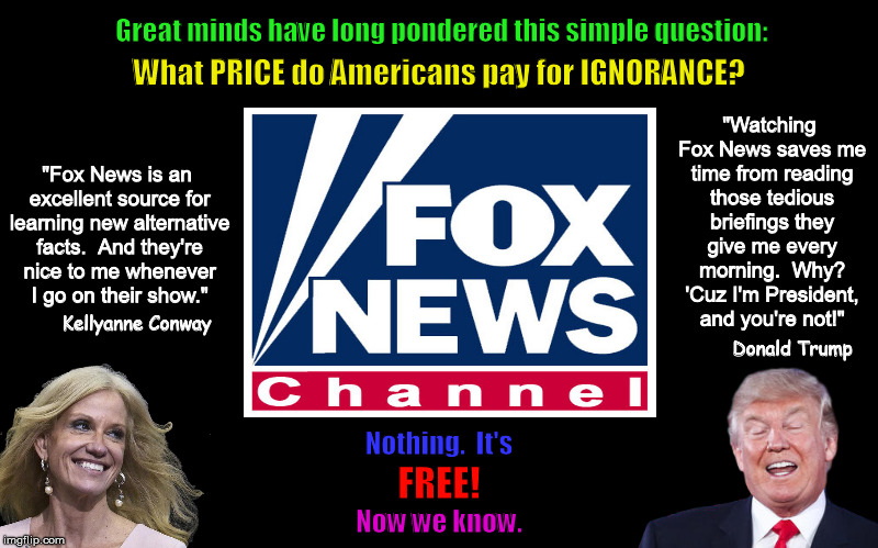 What Price Do Americans Pay for Ignorance? | image tagged in donald trump,kellyanne conway,fox news,cost of ignorance,funny,alternative facts | made w/ Imgflip meme maker