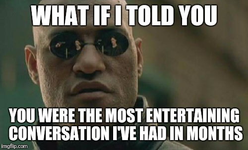 Matrix Morpheus Meme | WHAT IF I TOLD YOU YOU WERE THE MOST ENTERTAINING CONVERSATION I'VE HAD IN MONTHS | image tagged in memes,matrix morpheus | made w/ Imgflip meme maker