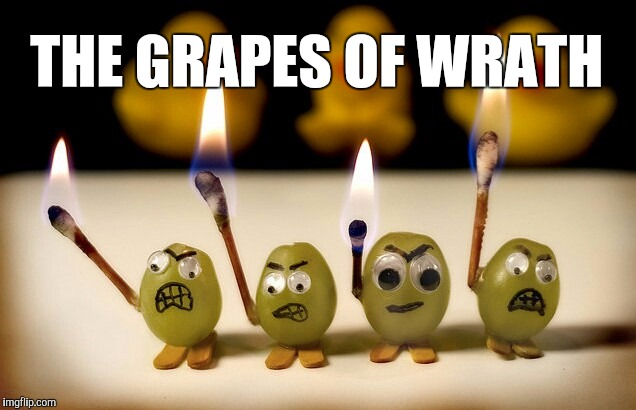 """We are the grapes of wrath, we never take a bath!""   